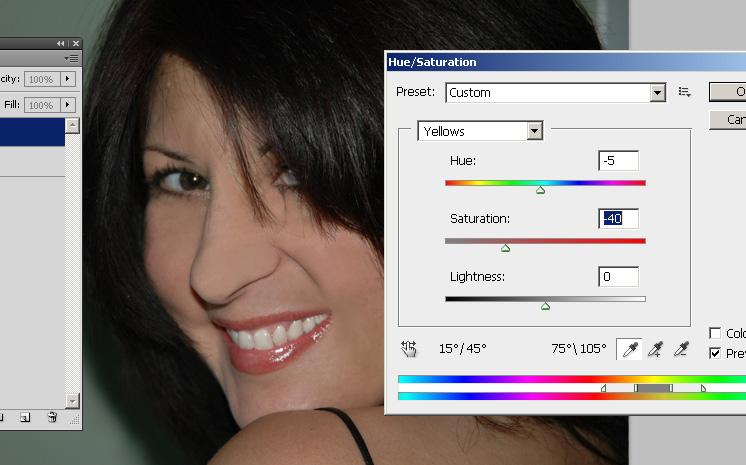 Отбеливание зубов в фотошопе